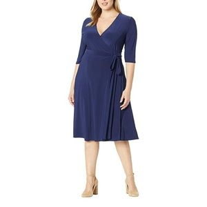 Kiyonna Navy Blue Essential Wrap Dress